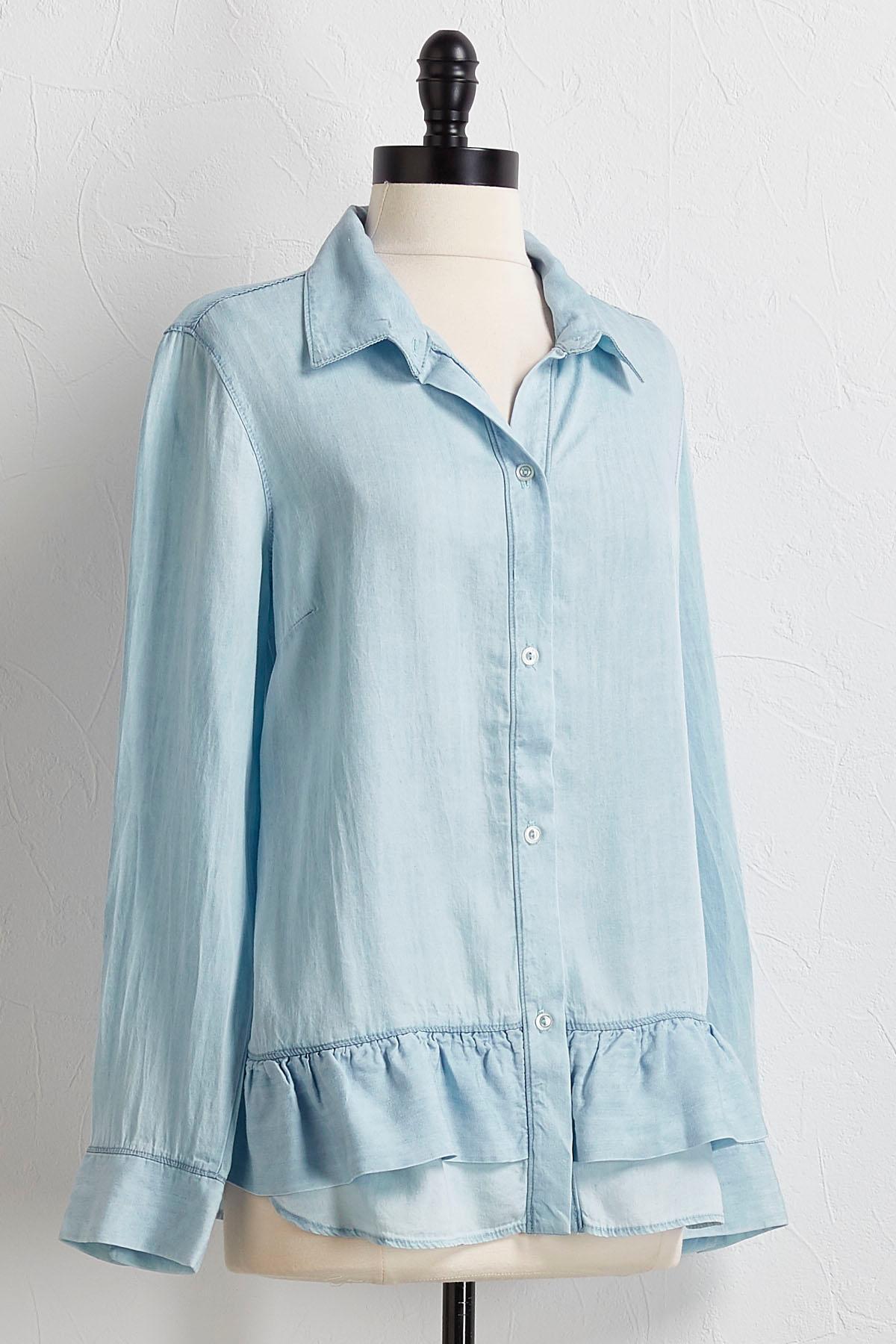 Button Down Peplum Shirt