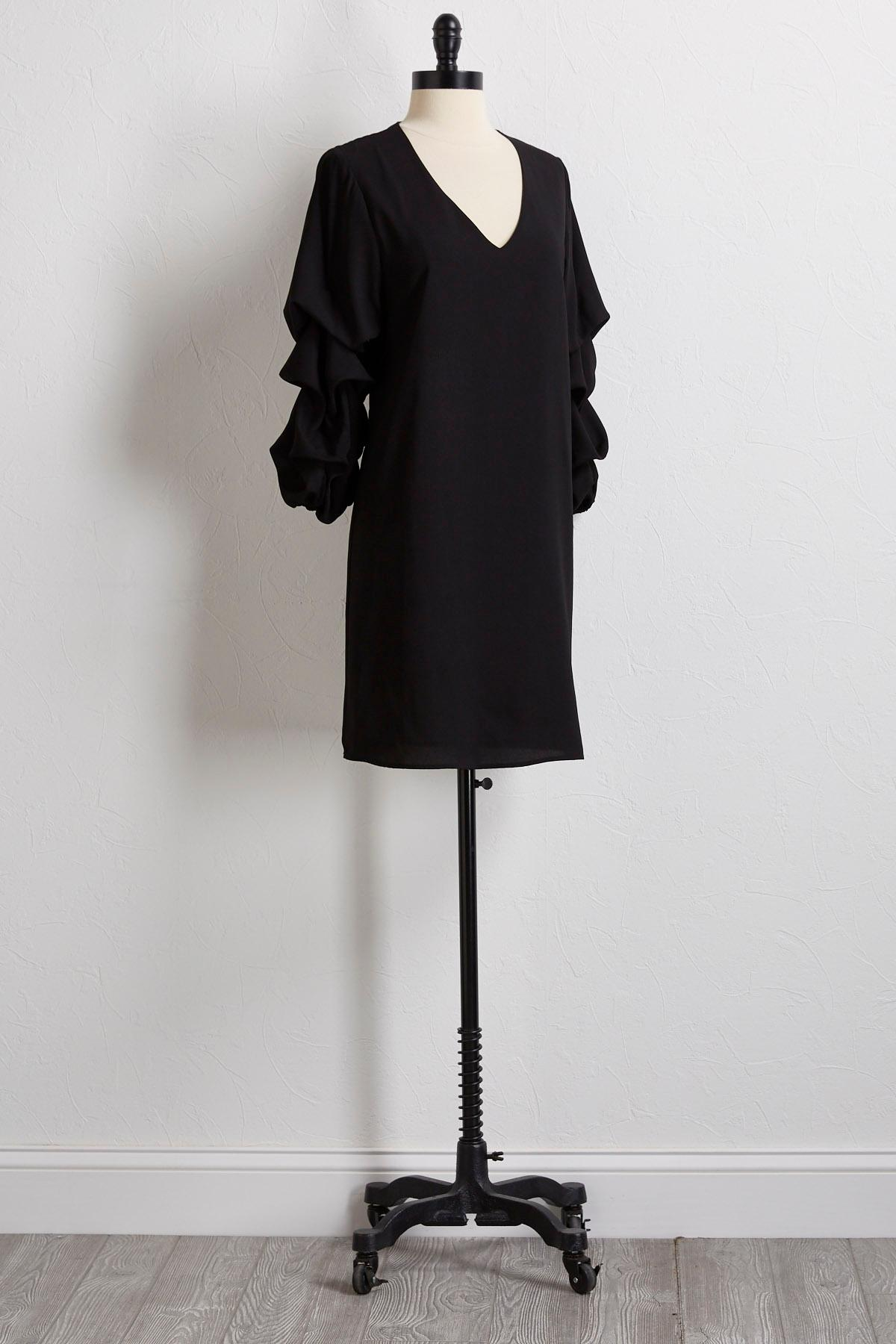 Bubble Ruffled Sleeve Shift Dress