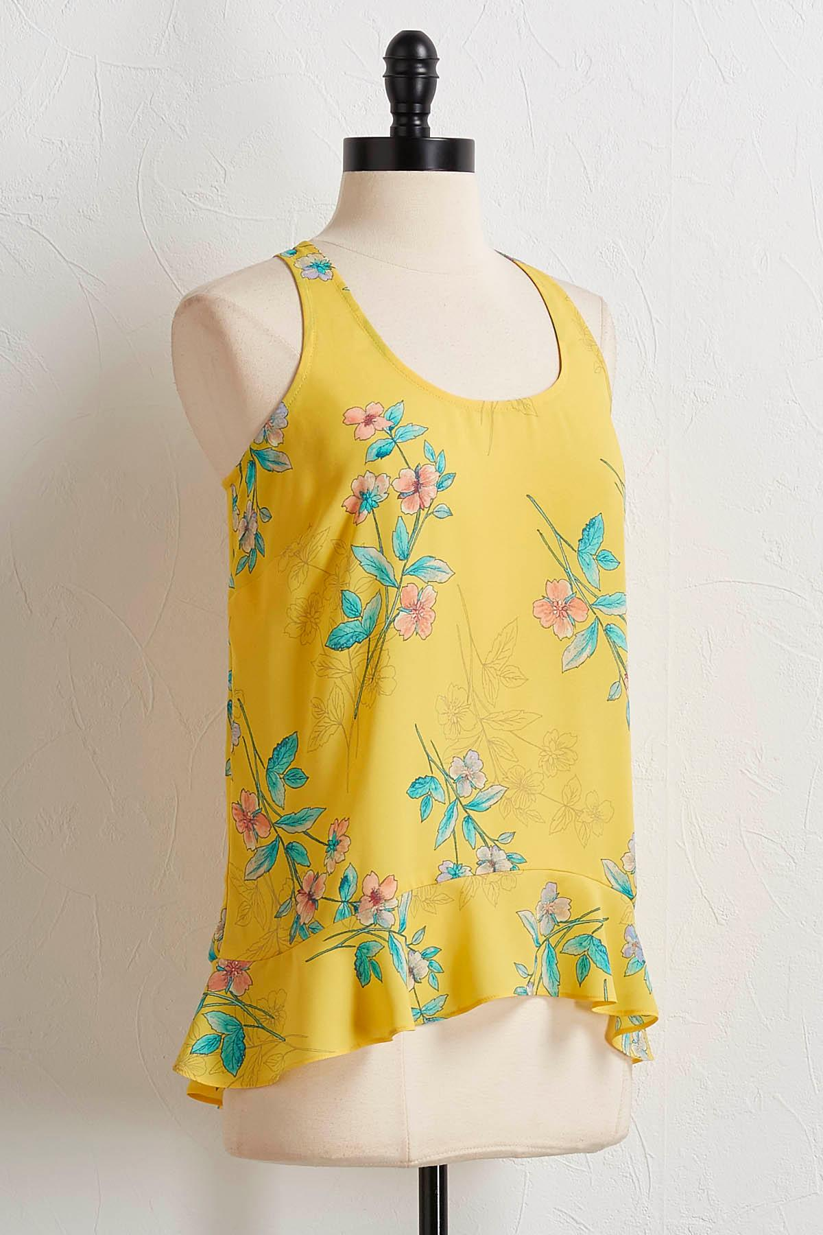 Yellow Floral High- Low Tank