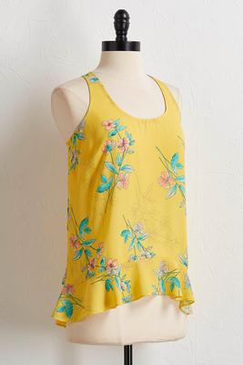 yellow floral high-low tank