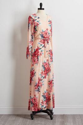 tie waist floral mesh maxi dress