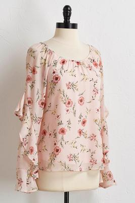 blush floral ruffle sleeve top