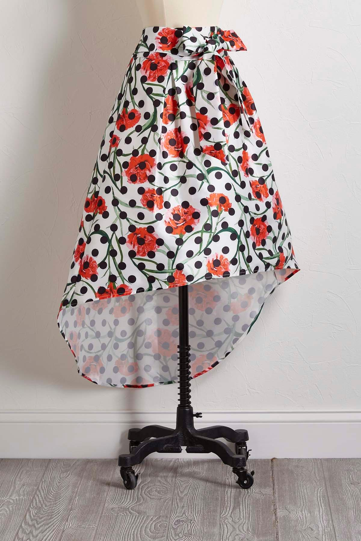 High- Low Floral Dot Skirt
