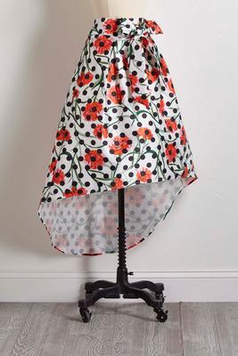high-low floral dot skirt