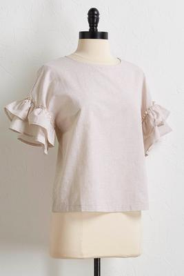 speckled metallic ruffle sleeve top