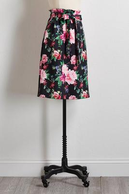 floral tie waist midi skirt