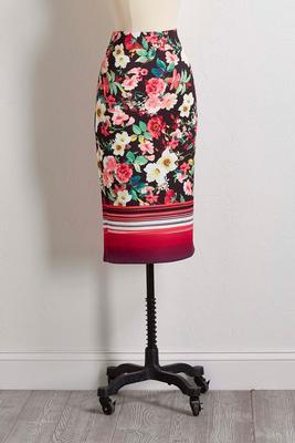 garden floral stripe skirt