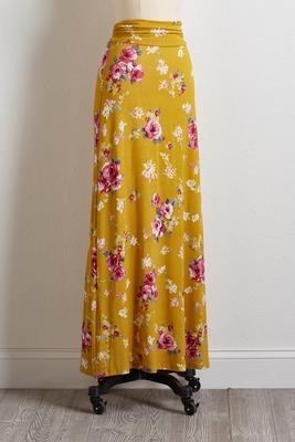 gold floral maxi skirt