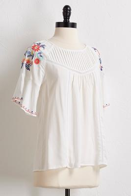 garden embroidered poet top