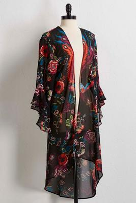 peacock floral high-low kimono