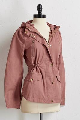 cinch waist utility jacket