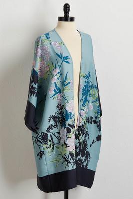 botanical border print kimono