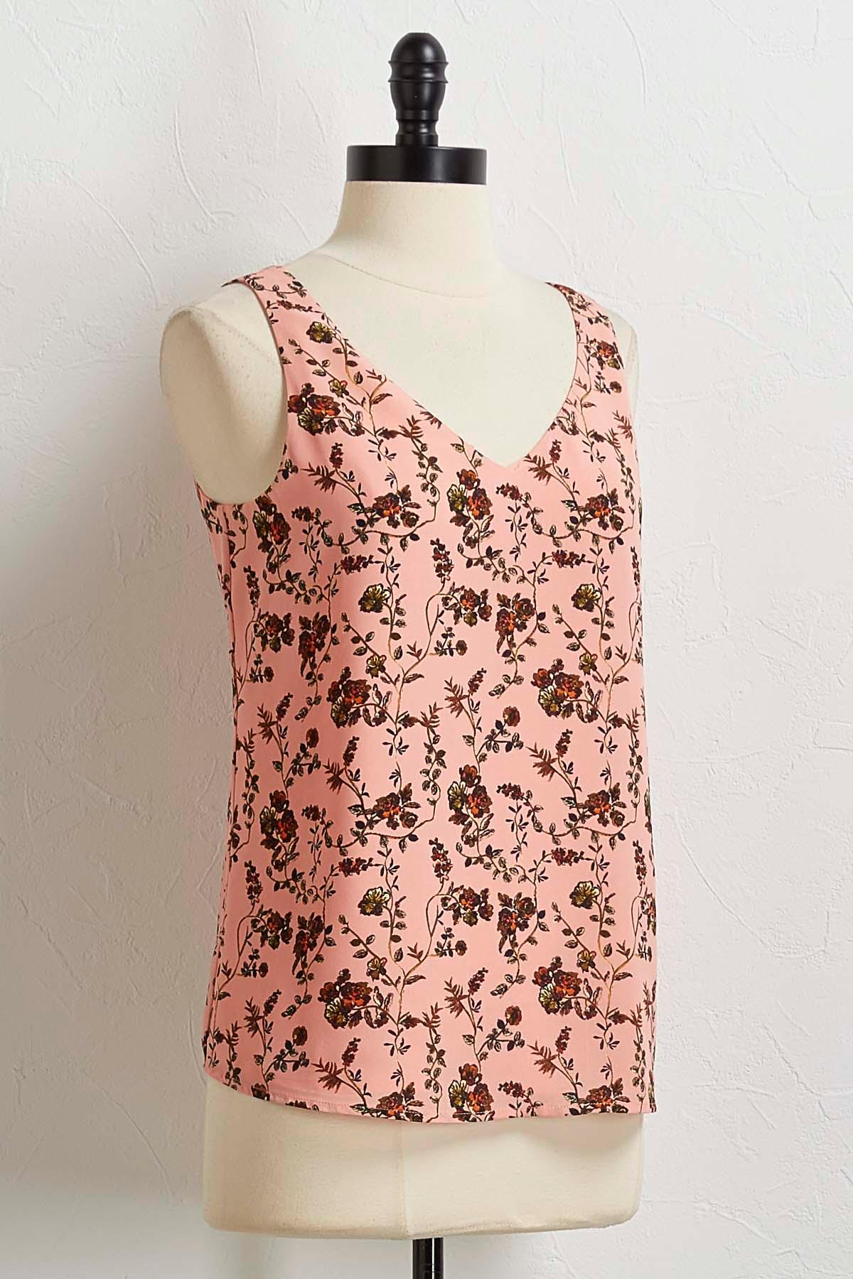 Floral Lattice Back Tank
