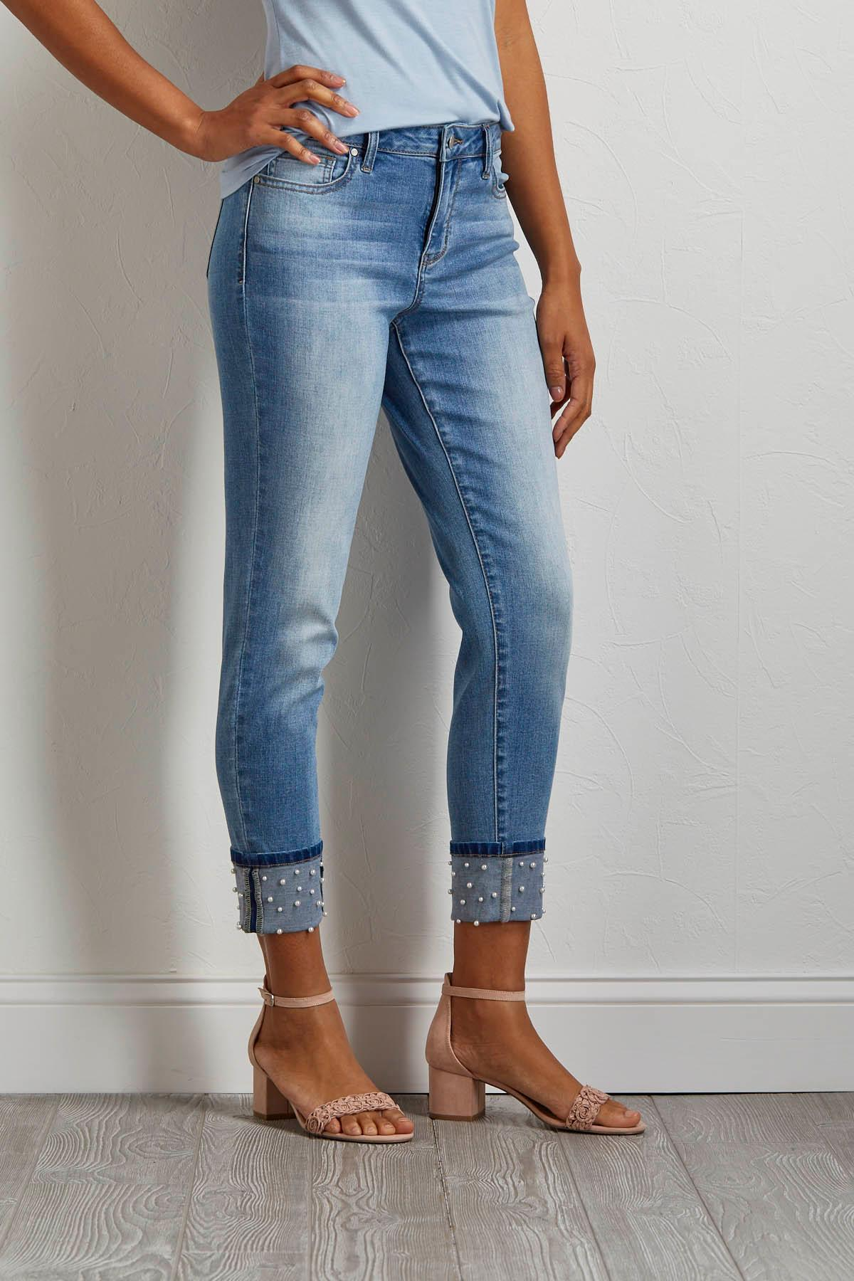 Pearl Cuffed Girlfriend Jeans
