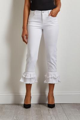 cropped ruffle denim pants