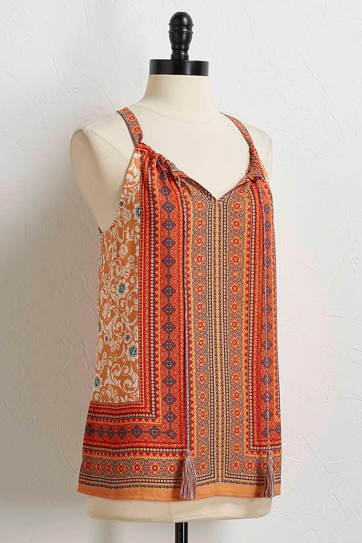 Tasseled Orange Medallion Top