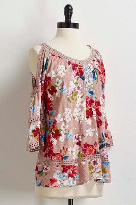 swiss dot floral bare shoulder top