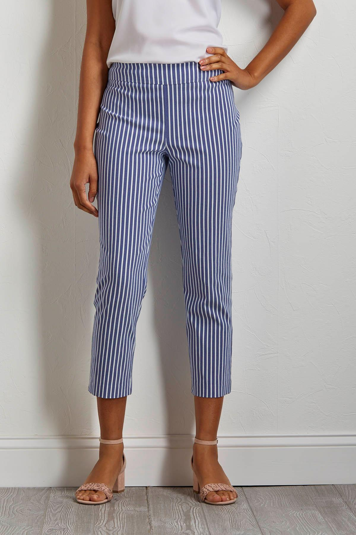 Cropped Stripe Crochet Hem Pants