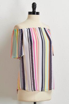 neon stripe off the shoulder top