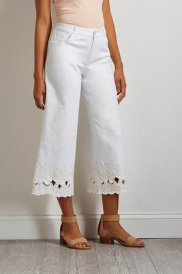 cutout embroidered wide leg pants