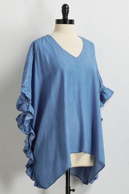 ruffled chambray poncho top