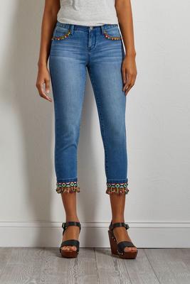 cropped tasseled pom-pom jeans