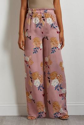 floral satin palazzo pants