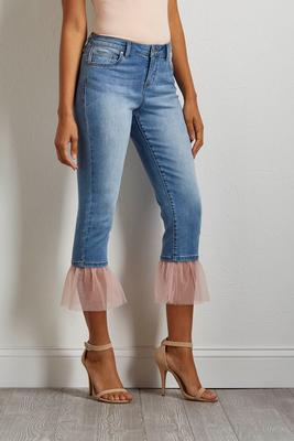 cropped pink tulle hem jeans
