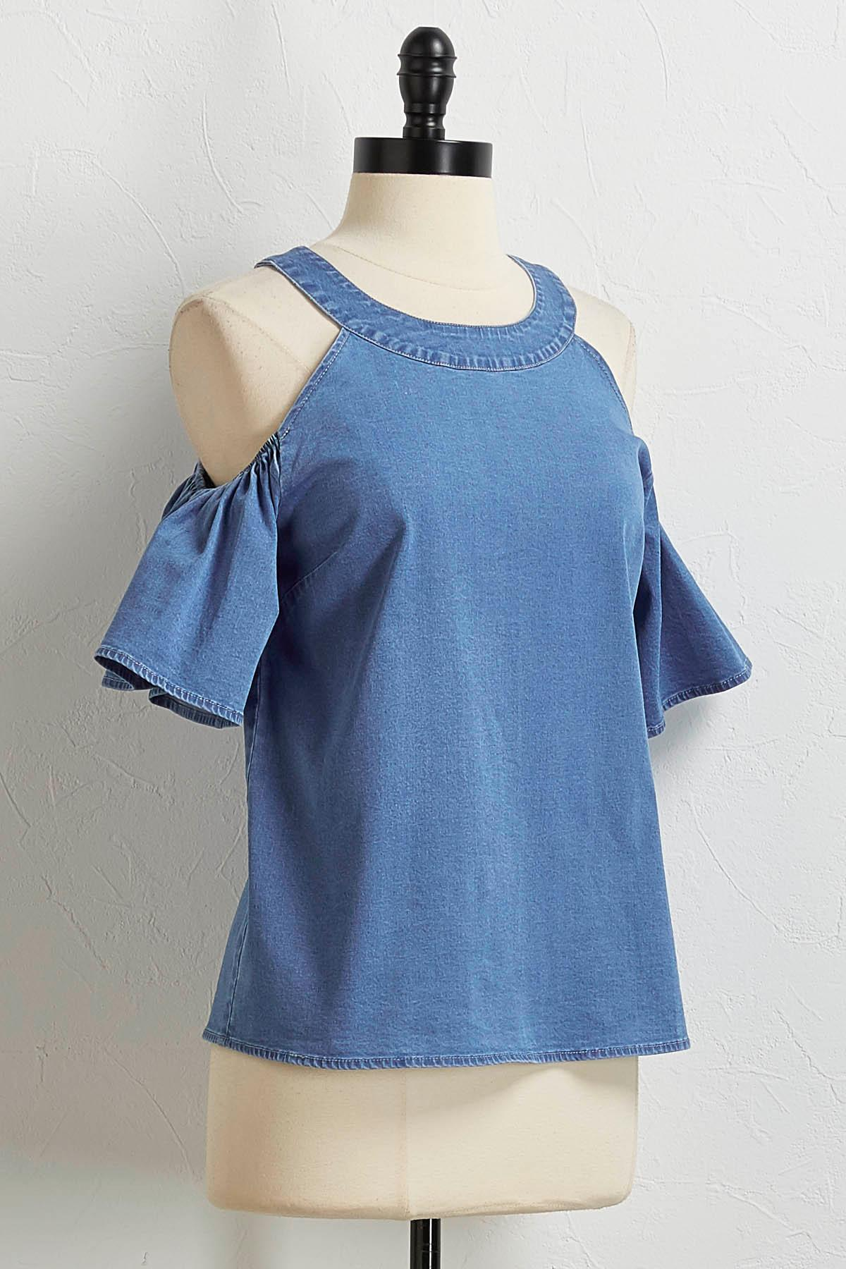 Bare Shoulder Chambray Top