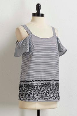 stripe embroidered bare shoulder top