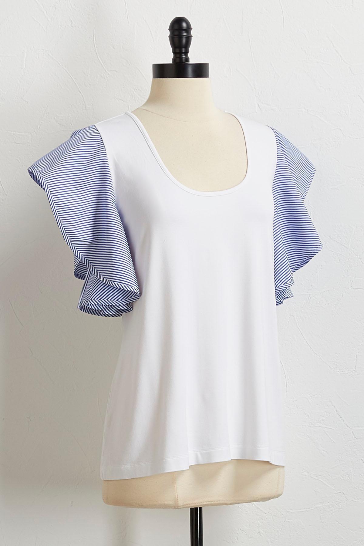 Striped Sleeve Poplin Top