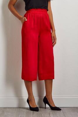 cropped red palazzo pants