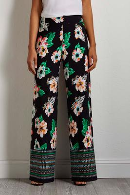 border tropical palazzo pants