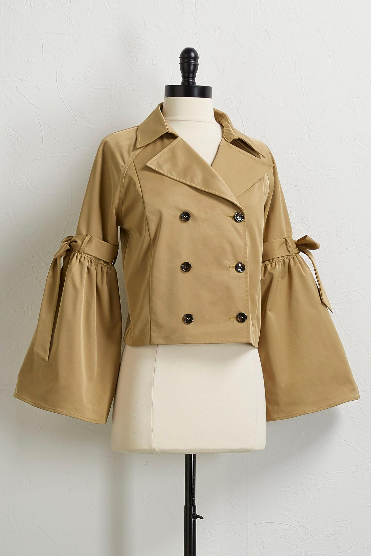 Cropped Bell Sleeve Trench Coat