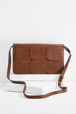 stitched panel crossbody bag