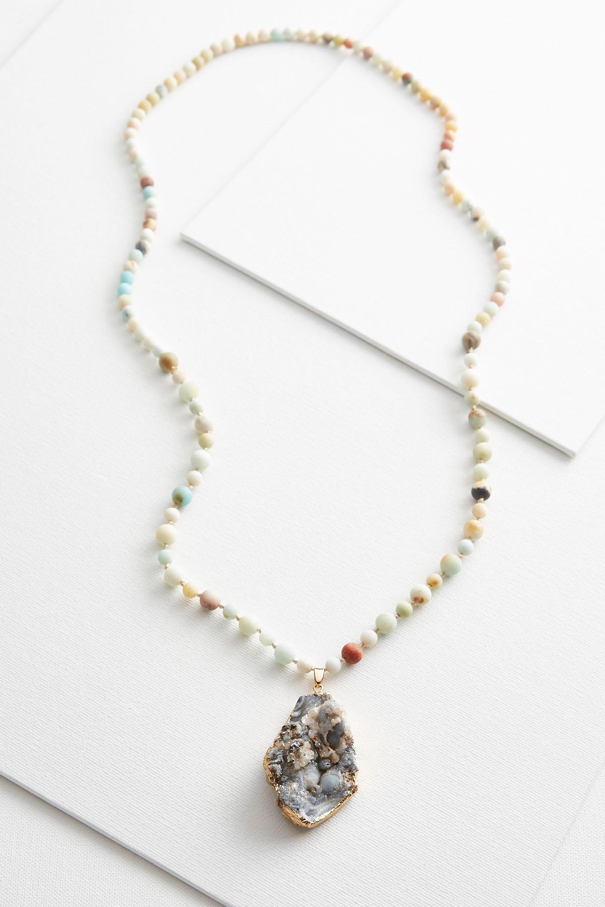 Versona beaded druzy pendant necklace beaded druzy pendant necklace item 42336198 aloadofball Image collections
