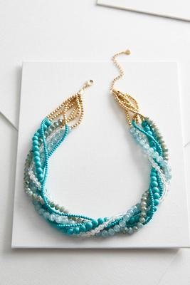 layered twisted bead necklace s