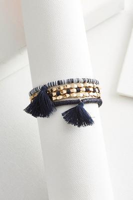 tasseled sequin stretch bracelet set