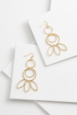 textured circle leaf earrings