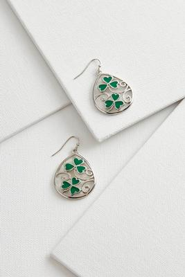 filigree shamrock dangle earrings