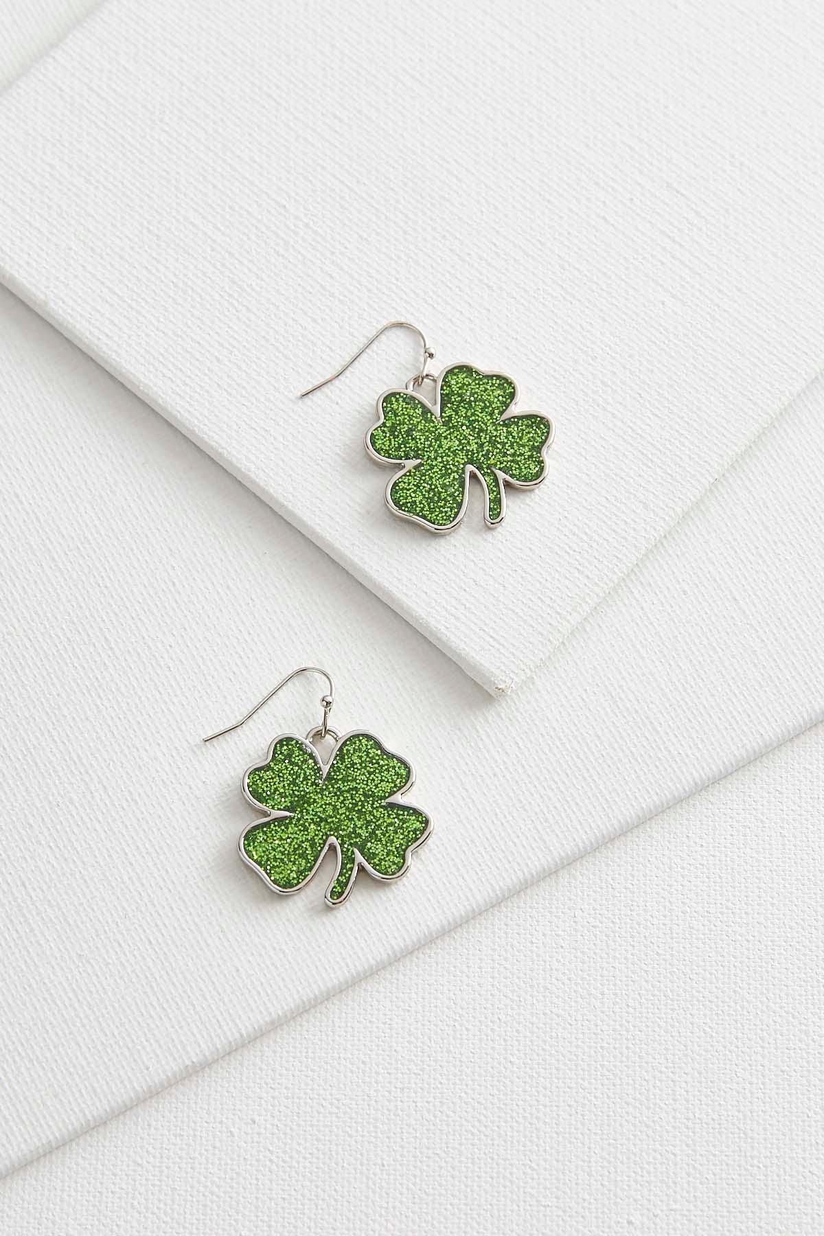 Glitter Shamrock Dangle Earrings