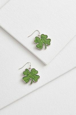 glitter shamrock dangle earrings