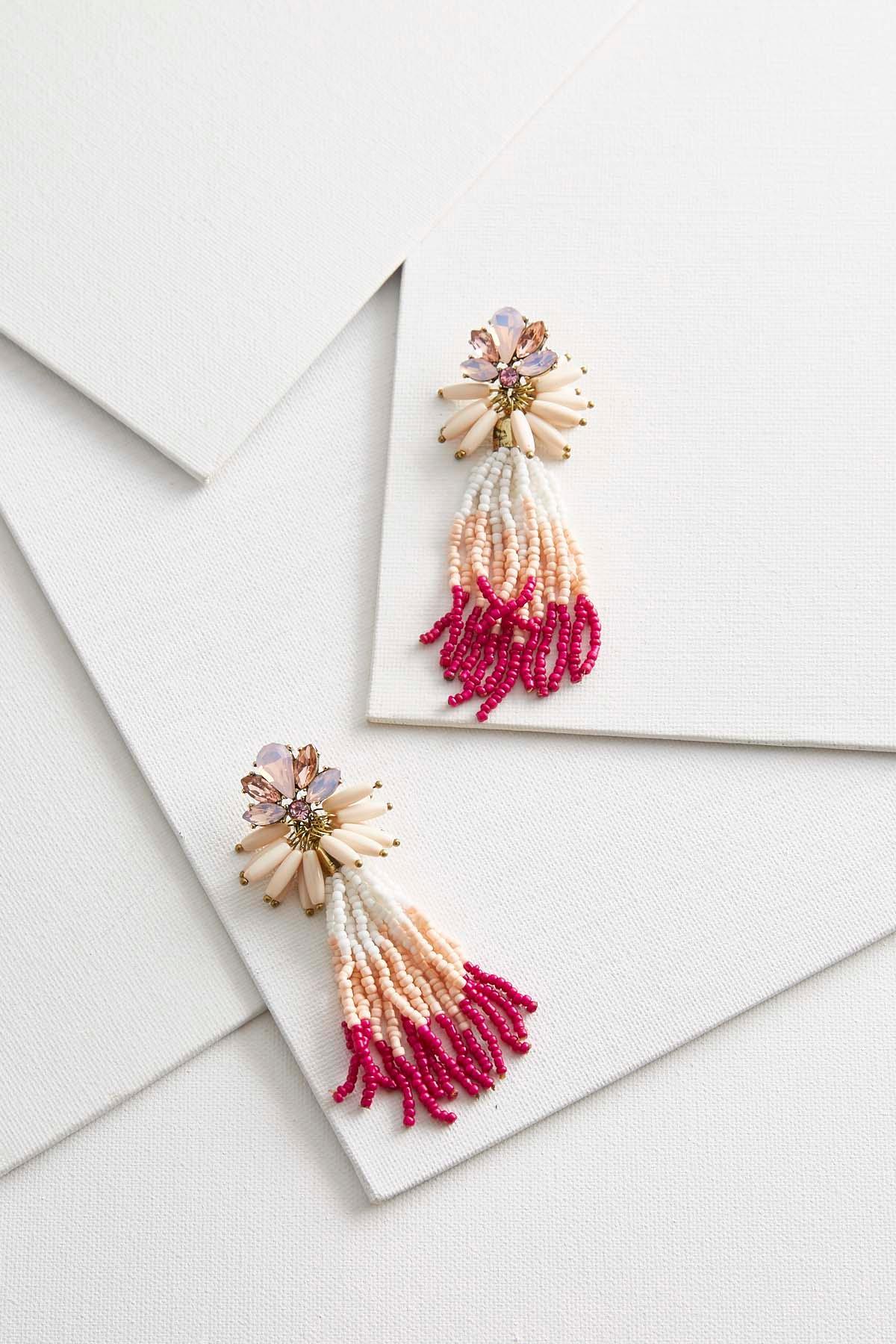 Glitzy Seed Bead Tassel Earrings