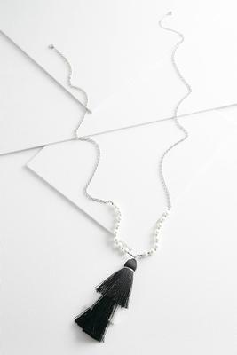 layered pearl tassel necklace s