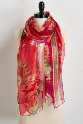 floral stripe oblong scarf
