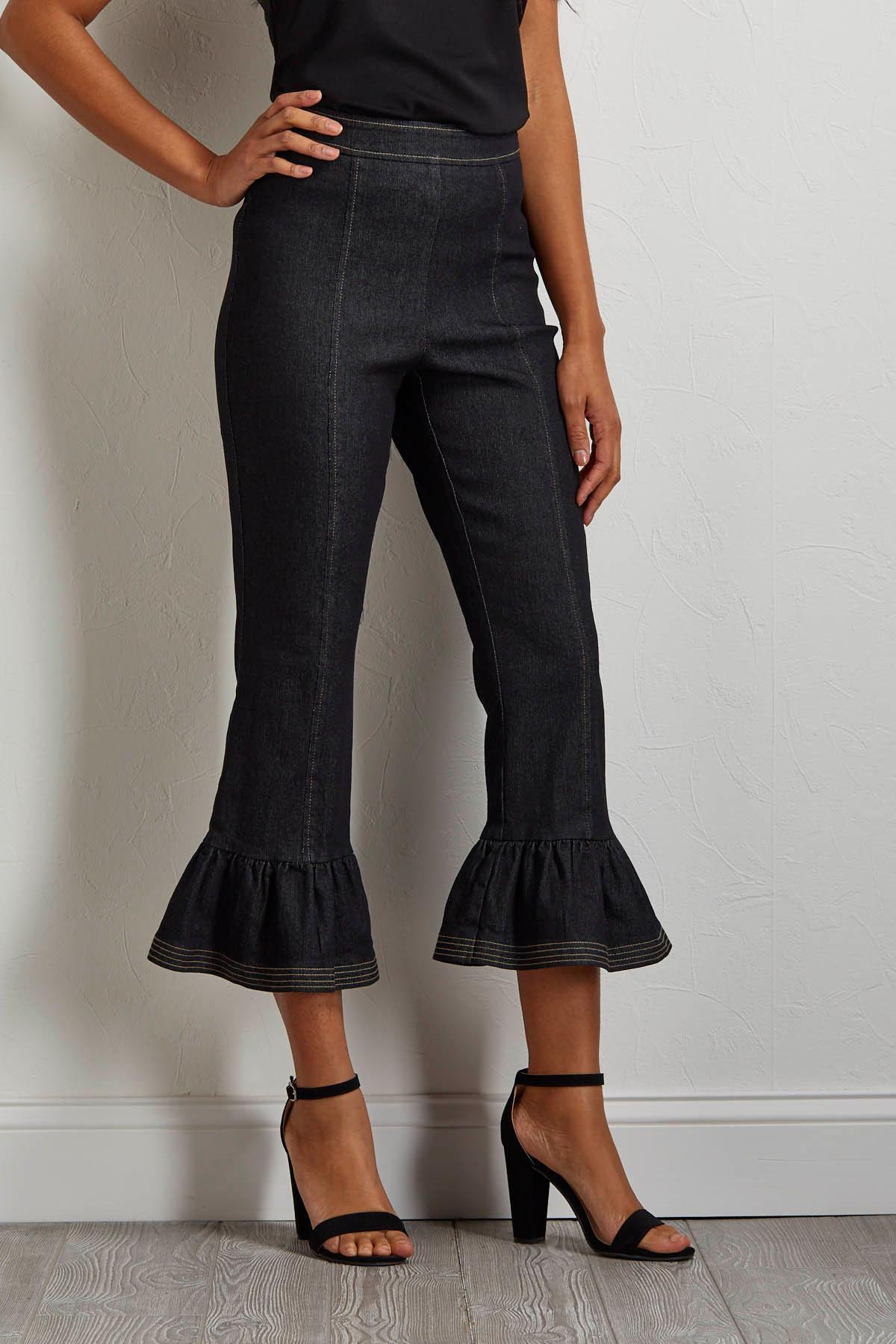 Cropped Ruffle Jeans