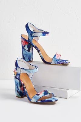 floral open back heels