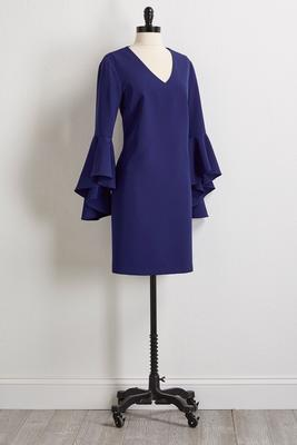 dramatic bell sleeve shift dress