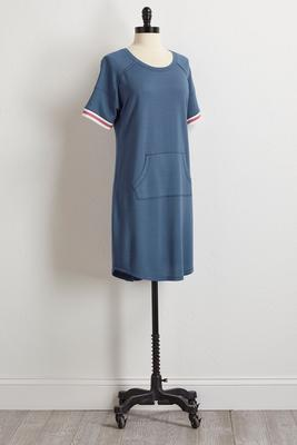 striped sleeve athleisure shift dress s