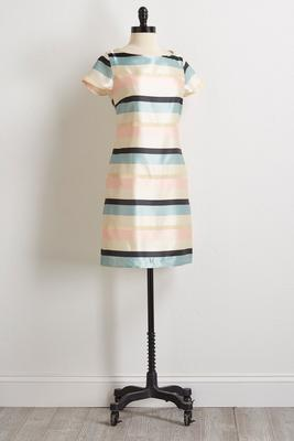 satiny blush stripe sheath dress